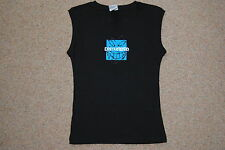 DISTURBED SMILE GLITTER LOGO LADIES SKINNY VEST T SHIRT OSFA NEW OFFICIAL