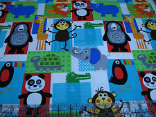 1.3 Yards Quilt Cotton Fabric - Henry Glass At the Zoo Lions Tigers Bears Patch