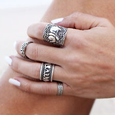 4 Stack Rings Tibetan Antique Silver Gypsy Bohemian Boho Midi Totem Carved #2A