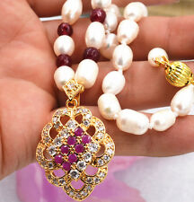 New white akoya cultured pearl garnet ruby necklace crystal pendant plating gold