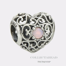 Authentic Pandora Silver October Signature Heart Opalescent Pink Bead 791784NOP