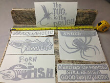 6 Fishing DECALS vinyl STICKER lure reel rod hook tackle box tug canoe boat fly