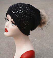 Women Winter Cashmere Rhinestone Wool Knitted Real Fur Pom Pom Beanie Hat A397