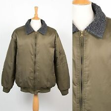 MENS VINTAGE MA1 STYLE BOMBER JACKET GREEN NYLON SHEARLING TRIM FLIGHT PILOT XXL