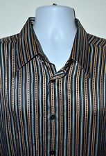 Gianni Viera Men's 100% Silk Multi-Color Striped Shirt Size 2XL Made in Italy