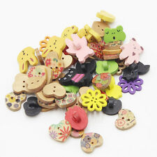 50pcs Mix Shape Wooden Pattern Wood Sewing Buttons Sewing Scrapbooking Craft DIY