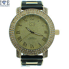 MENS ICED OUT 3 ROW FULL STONE ICE NATION WATCH WITH BULLET BAND #154 BRAND NEW