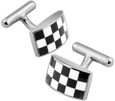 RECTANGULAR CHECKERED CUFFLINKS STERLING SILVER 925 HALLMARKED FROM ARI D NORMAN