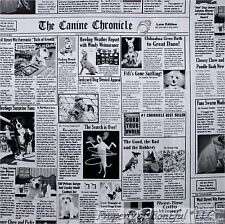 BonEful Fabric FQ Cotton Quilt B&W News Paper VET Dog Puppy K9 Canine Police Cop