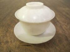 ANTIQUE CHINESE WHITE JADE / HARDSTONE TEABOWL COVER & SAUCER