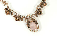 Victorian BIRD Scene Pendant Necklace Pearl & Moonstone Gold filled Book chain