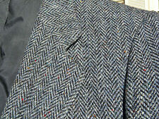 Vintage Blue Grey Herringbone HARRIS TWEED Fleck Sport Coat 42 S CANADA