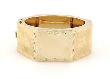 Vintage 14K Yellow Gold 31mm Wide Flower Bangle Bracelet