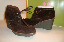 Naturalizer Womens NWB Kaitlyn Oxford Brown Ankle Wedge Boots Shoes 5.5 MED NEW