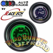 EVO Digial Racetech Autogauge Voltage Gauge 52mm GREEN WHITE 12 volt