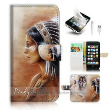 iPhone 5 5S Flip Wallet Case Cover! P1822 Indian Wolf