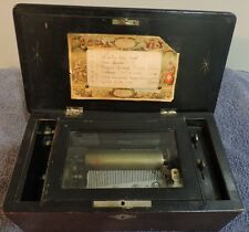 """Antique Swiss D'Airs Cylinder Music Box 6 Airs 4 1/2 """" Cylinder W/Key"""