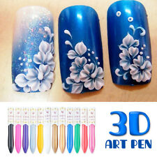 12 Colors/set 3D Nail Art Drawing Pen Manicure Acrylic Pigment Decoration