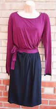 PER UNA PURPLE BLACK JUMPER KNIT WINTER LONG SLEEVE SKATER BELTED DRESS 16 XL