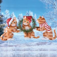 Set of 3 Christmas Santa Hat Kittens with Wreath Outdoor Garden Stakes