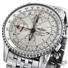 Mens Breitling Navitimer World GMT White Face Chronograph A24322 46mm Watch
