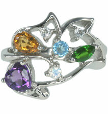 Amethyst Heart Citrine Gemstone Cluster Sterling Silver Ring size N