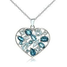 Sterling Silver London Blue Topaz & Blue Topaz Cluster Heart Tonal Necklace