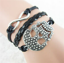 Skull Head Alloy Wrap DIY Infinity Leather Weaved Rope Bracelet Bangle Gift  Hot