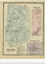 1871 Beers Map of Heath, w/inset maps Heath centre & Rowe centre, Beers original