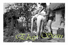 VINTAGE 1940's PHOTO MAN BULGES FROM BATHING NUDE SOLDIER GAY INTEREST 59