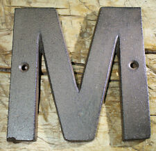 """Cast Iron Industrial LETTER M Sign Rustic Brown 5"""" tall Alphabet"""