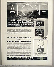 Kaar Engineering PRINT AD - 1948 ~ Marine Radiotelephone, D-24 Direction Finder