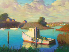 Martha's Vineyard LOBSTER BOAT Cape Cod 18x24 Oil Painting Giclee Canvas