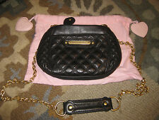 JUICY COUTURE BLACK QUILTED LEATHER CHAIN LINK CROSSBODY MESSENGER PURSE BAG