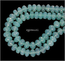 "90ct Sea Blue Chalcedony Rondelle Beads 8mm 7.8"" Grade AA #59059"