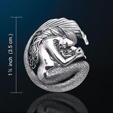 MERMAID Pendant White Bronze Silver Plated Mermaid & Baby Mother Love Fantasy