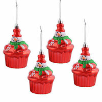 """4""""/10cm 4 Red Cup Cake Snowman Hanging Christmas Tree Glitter Decorations New"""