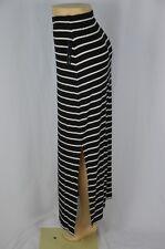 Apt 9 Womens XS Black White Stripe NEW Maxi Skirt Side Slit Elastic Waist Long