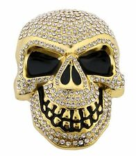 Mens Womens Skulls Skeleton Belt Buckle Gold Rhinestone Metal Goth Tattoo Tribal
