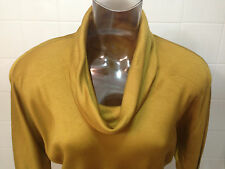 70s MARY ANN RESTIVO Cowl Neck Blouse Beautiful Mustard Muted Gold 3/4 Sleeve 8