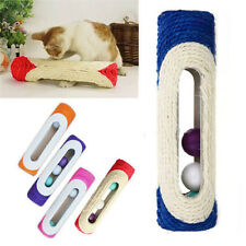 Pet Cat Rolling Sisal Scratching Post Trapped + 3 Ball Training Activity Toy Fun