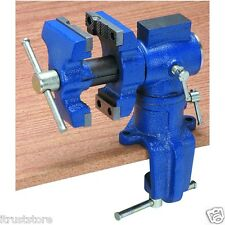 METAL CLAMP ON BENCHTOP BENCH TOP TABLE WORK MULTI SPINNING SWIVELING VISE ANVIL