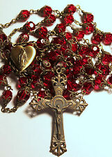 DK Red Siam Crystal Mary Locket Center Antique Bronze Handmade Rosary Rosario31""