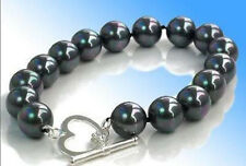 AAA 10mm black south sea shell pearl round bead bracelets 7.5 inches Heart Clasp