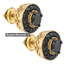 black diamond 2.05 carat stud screwback earrings 925 yellow unisex men ladies
