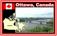 OTTAWA, CANADA  MAP & FLAG  - SOUVENIR NOVELTY FRIDGE MAGNET - BRAND NEW - GIFT