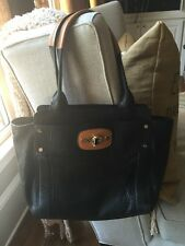 Saks 5th Ave , Milly Large Black/Tan Pebbled Leather Shoulder Bag Beautiful!