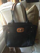 Saks 5th Ave , Milly Large Black/Tan Pebbled Leather Shoulder Bag Beautiful!
