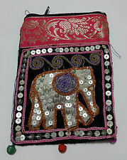 Elephant Bags Thai Handmade Cotton Mobile Phone Strap Bags Crafts Purses Pink