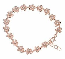 "ROSE GOLD PLATED SILVER 925 HAWAIIAN FANCY PLUMERIA FLOWER BRACELET CZ 8MM 7""+"